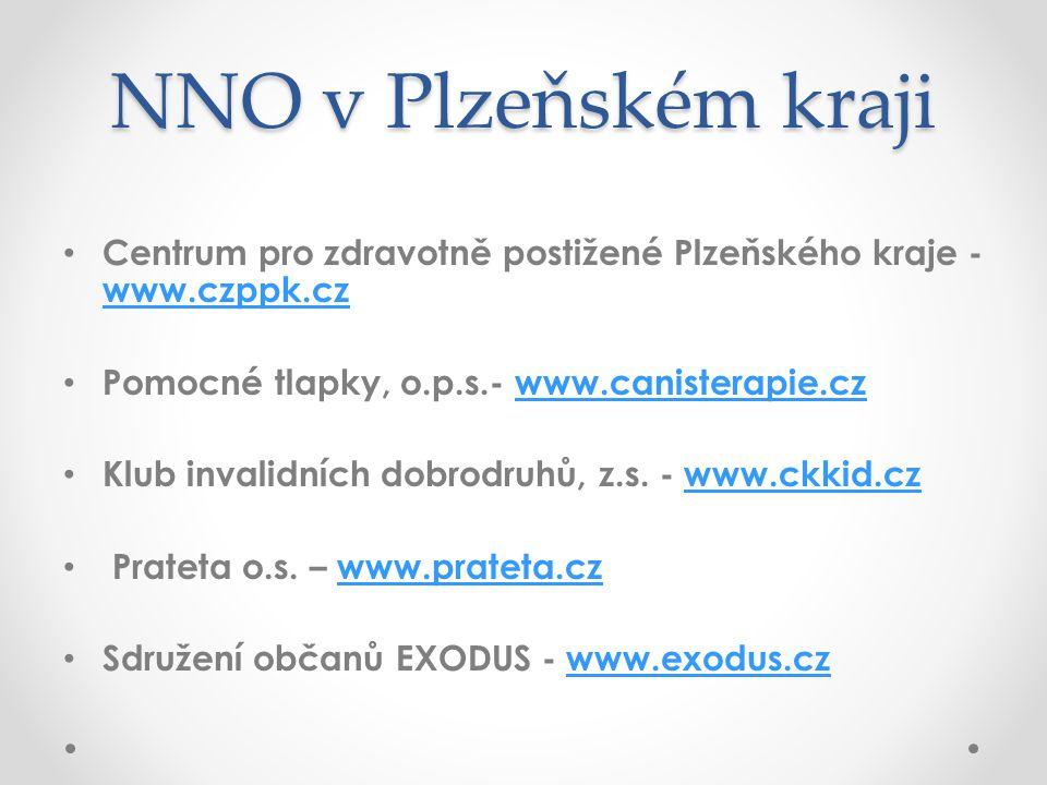NNO v Plzeňském kraji • Centrum pro zdravotně postižené Plzeňského kraje - www.czppk.cz www.czppk.cz • Pomocné tlapky, o.p.s.- www.canisterapie.czwww.
