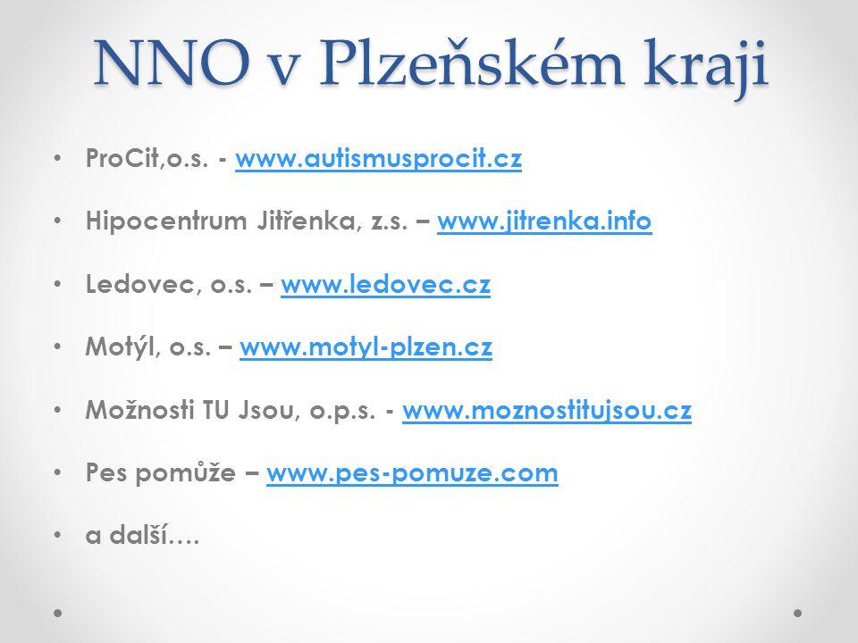NNO v Plzeňském kraji • ProCit,o.s. - www.autismusprocit.czwww.autismusprocit.cz • Hipocentrum Jitřenka, z.s. – www.jitrenka.infowww.jitrenka.info • L