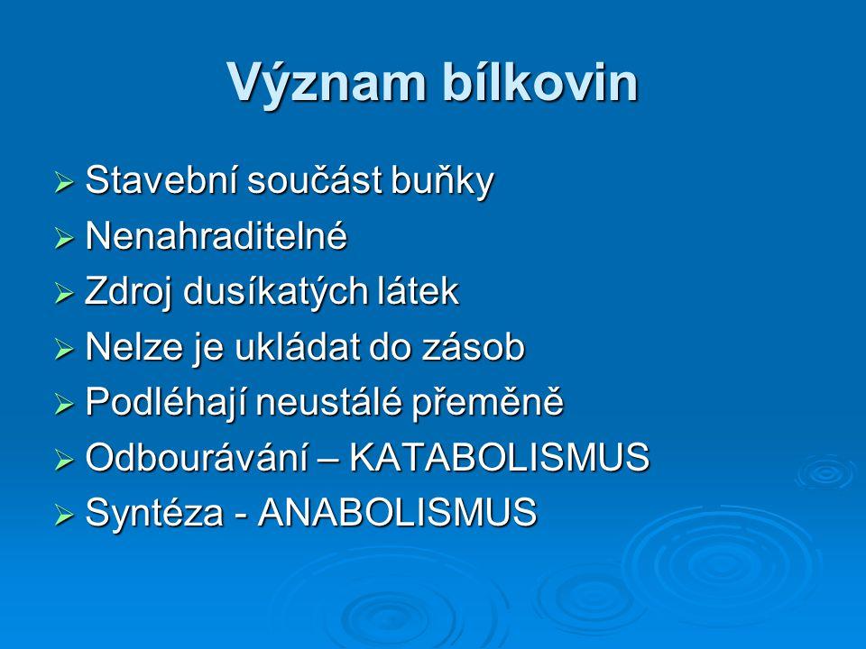 Katabolismus enzymy enzymy  BÍLKOVINY → AMINOKYSELINY  BÍLKOVINY → POLYPEPTIDY  POLYPEPTIDY → PEPTIDY  PEPTIDY → AMINOKYSELINY  Denaturované bílkoviny se štěpí snadněji než nativní