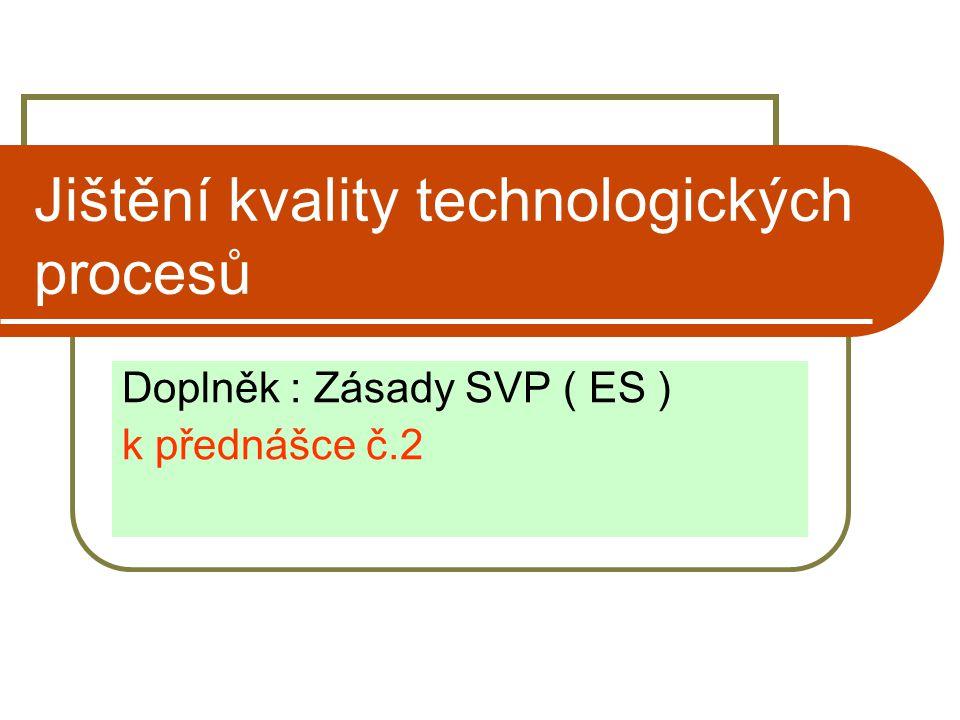 Jištění kvality technologických procesů Doplněk : Zásady SVP ( ES ) k přednášce č.2