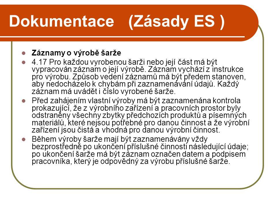 Dokumentace (Zásady ES )  Záznamy o výrobě šarže  4.17Pro každou vyrobenou šarži nebo její část má být vypracován záznam o její výrobě. Záznam vychá