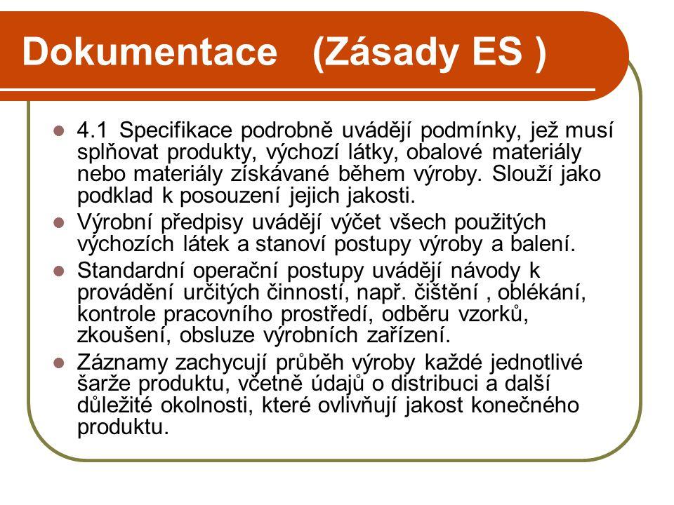 Dokumentace (Zásady ES )  4.1Specifikace podrobně uvádějí podmínky, jež musí splňovat produkty, výchozí látky, obalové materiály nebo materiály získávané během výroby.