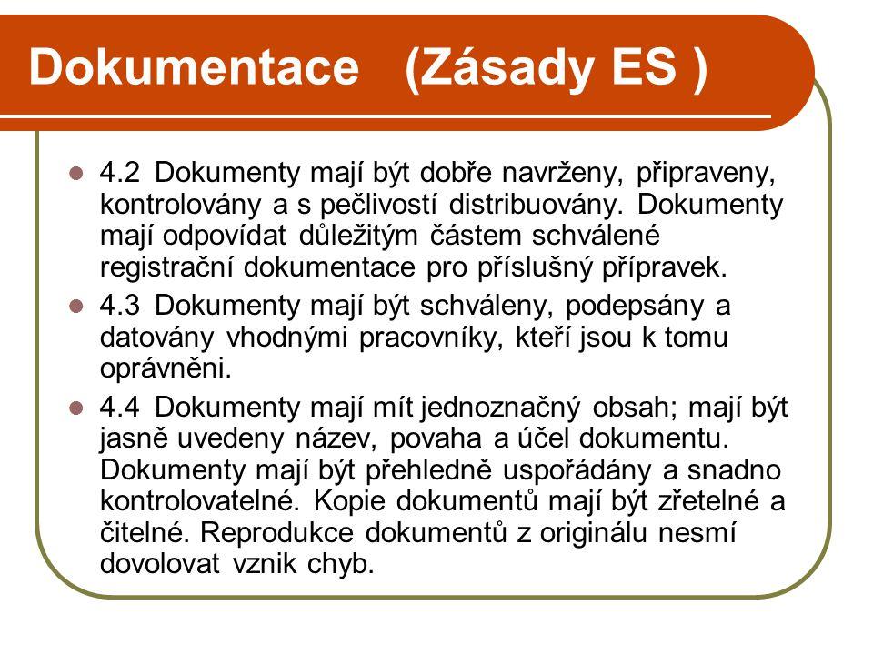 Dokumentace (Zásady ES )  4.2Dokumenty mají být dobře navrženy, připraveny, kontrolovány a s pečlivostí distribuovány. Dokumenty mají odpovídat důlež