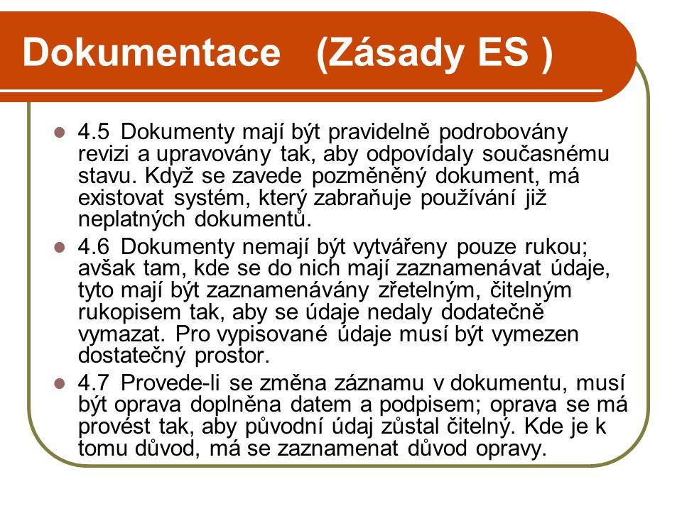 Dokumentace (Zásady ES )  4.5Dokumenty mají být pravidelně podrobovány revizi a upravovány tak, aby odpovídaly současnému stavu. Když se zavede pozmě