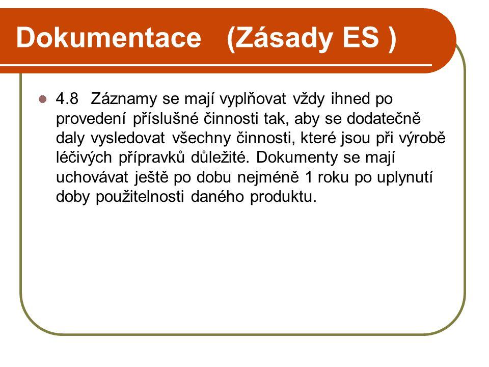 Dokumentace (Zásady ES )  4.8 Záznamy se mají vyplňovat vždy ihned po provedení příslušné činnosti tak, aby se dodatečně daly vysledovat všechny činn