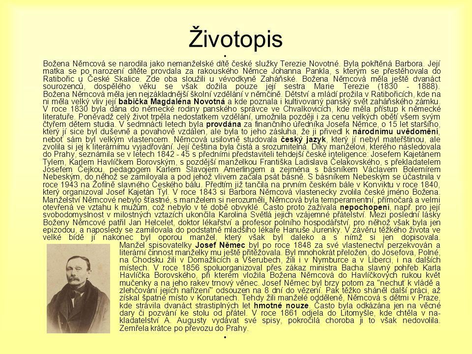 Životopis • Božena Němcová se narodila jako nemanželské dítě české služky Terezie Novotné. Byla pokřtěná Barbora. Její matka se po narození dítěte pro