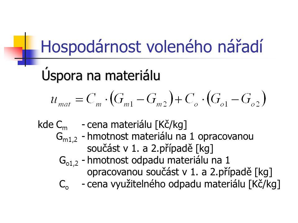 Hospodárnost voleného nářadí Úspora na materiálu kdeC m -cena materiálu [Kč/kg] G m1,2 -hmotnost materiálu na 1 opracovanou součást v 1.