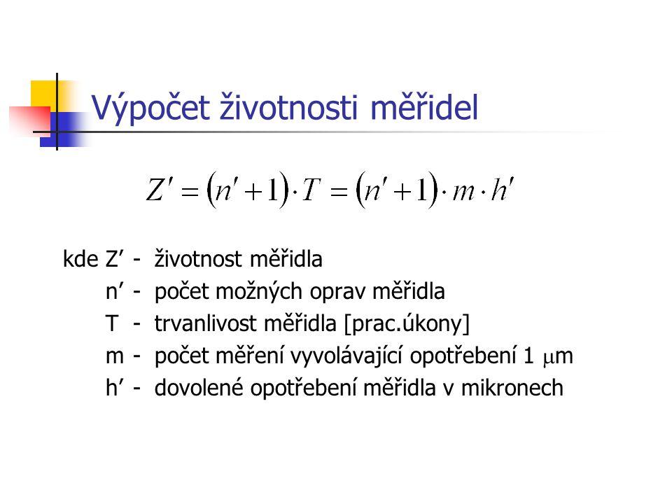 Výpočet životnosti měřidel kdeZ'-životnost měřidla n'-počet možných oprav měřidla T-trvanlivost měřidla [prac.úkony] m-počet měření vyvolávající opotřebení 1  m h'-dovolené opotřebení měřidla v mikronech