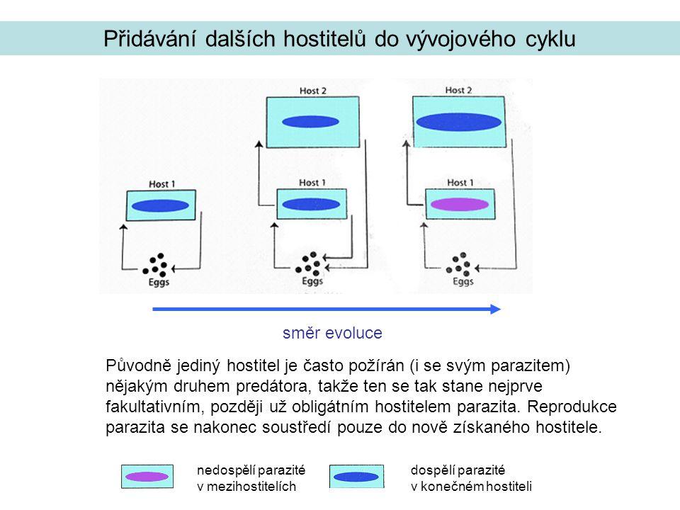 Přidávání dalších hostitelů do vývojového cyklu Původně jediný hostitel je často požírán (i se svým parazitem) nějakým druhem predátora, takže ten se tak stane nejprve fakultativním, později už obligátním hostitelem parazita.