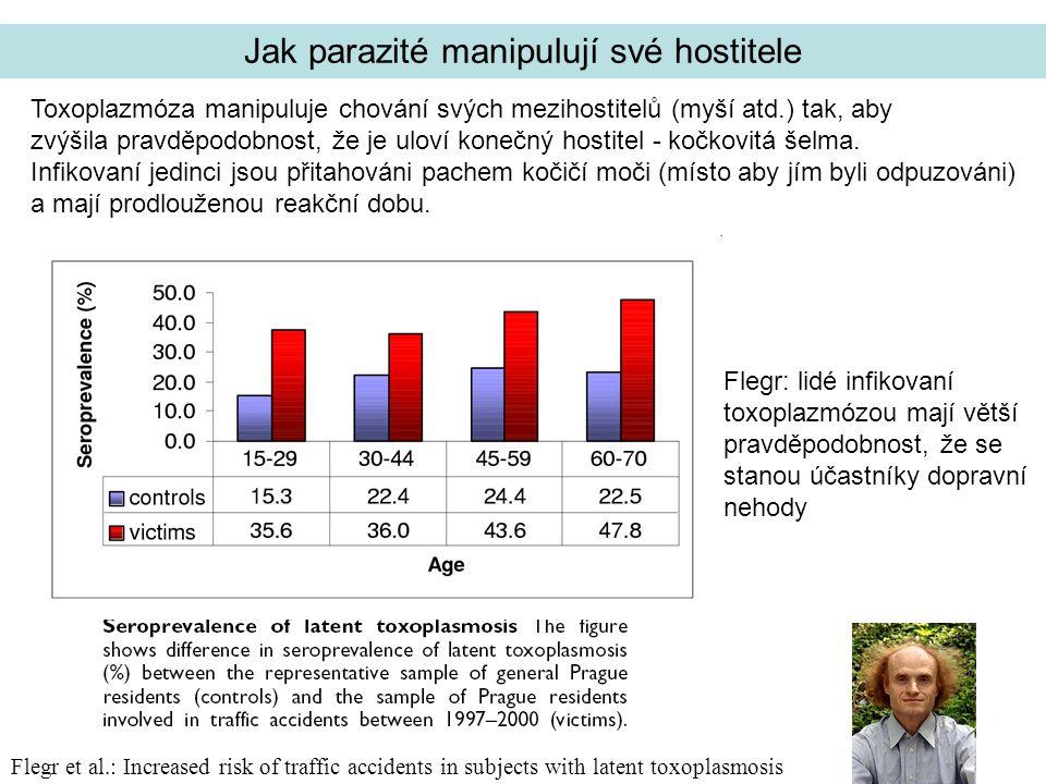Flegr et al.: Increased risk of traffic accidents in subjects with latent toxoplasmosis Toxoplazmóza manipuluje chování svých mezihostitelů (myší atd.) tak, aby zvýšila pravděpodobnost, že je uloví konečný hostitel - kočkovitá šelma.