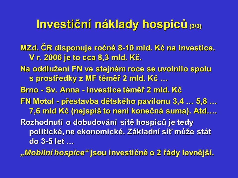 Provozní náklady hospiců (1/5) Hospic lze při současném systému úhrad lůžkové péče zařadit mezi tzv.