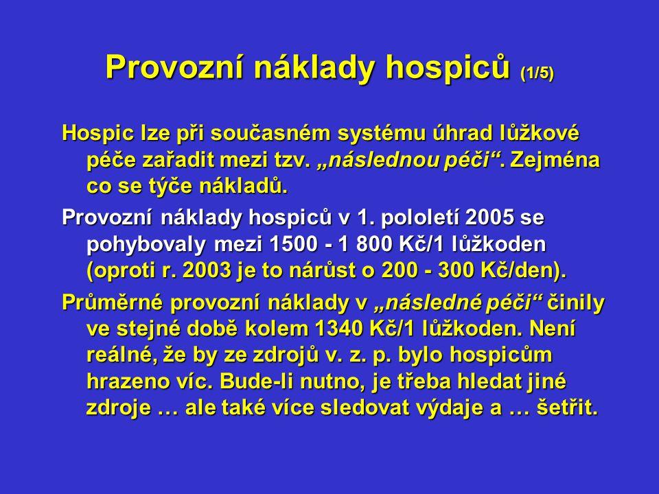 Provozní náklady hospiců (2/5) Tab.č. 1: Srovnání nákladů na 1 lůžkoden v Kč v r.