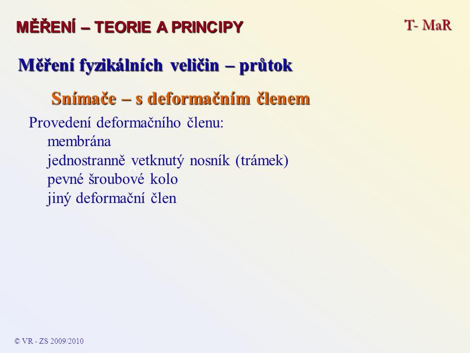 T- MaR MĚŘENÍ – TEORIE A PRINCIPY © VR - ZS 2009/2010 A Měření fyzikálních veličin – průtok Snímače – průřezové Se změnou průřezu potrubí vložením dýzy, clony apod.