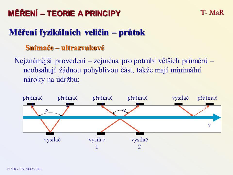 T- MaR MĚŘENÍ – TEORIE A PRINCIPY © VR - ZS 2009/2010 A Měření fyzikálních veličin – průtok Snímače – indukční Jednoduchý princip i realizace – vhodné pouze pro elektricky vodivé kapaliny (hl.