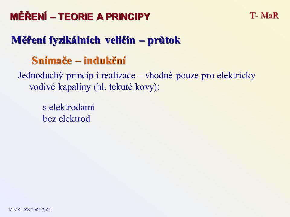 T- MaR MĚŘENÍ – TEORIE A PRINCIPY © VR - ZS 2009/2010 Měření fyzikálních veličin – průtok Snímače – indukční Jednoduchý princip i realizace – vhodné pouze pro elektricky vodivé kapaliny (hl.
