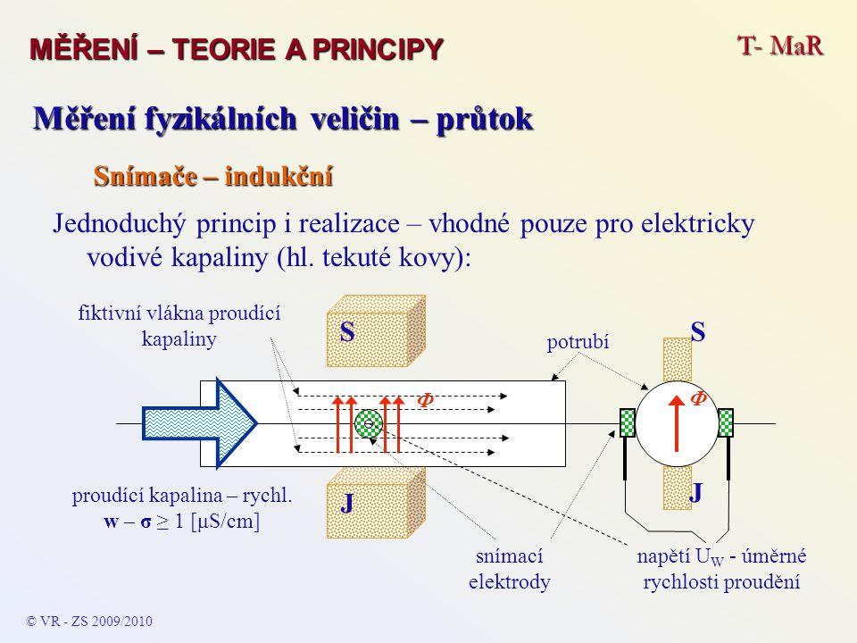 T- MaR MĚŘENÍ – TEORIE A PRINCIPY © VR - ZS 2009/2010 Měření fyzikálních veličin – průtok Snímače – indukční Jednoduchý princip i realizace – vhodné p