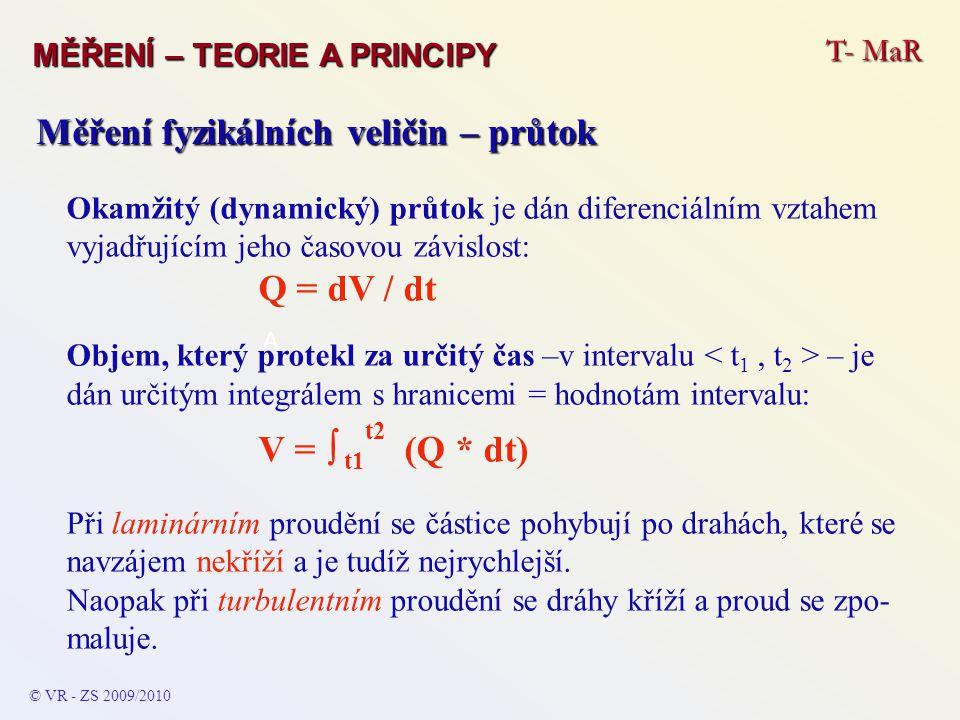 T- MaR MĚŘENÍ – TEORIE A PRINCIPY © VR - ZS 2009/2010 A Měření fyzikálních veličin – průtok Reynoldsovo číslo určuje druh proudění, udává se pro potrubí da- ného průměru a kapalinu či plyn o dané kinematické viskozitě ν.
