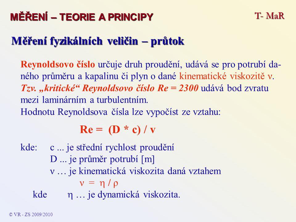 T- MaR MĚŘENÍ – TEORIE A PRINCIPY © VR - ZS 2009/2010 A Měření fyzikálních veličin – průtok Reynoldsovo číslo určuje druh proudění, udává se pro potru