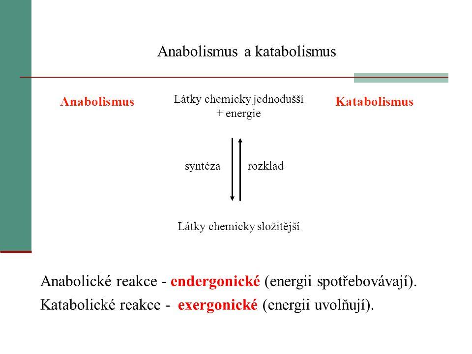 Anabolismus a katabolismus AnabolismusKatabolismus Látky chemicky složitější Látky chemicky jednodušší + energie rozklad syntéza Anabolické reakce - e