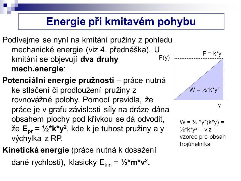 Energie při kmitavém pohybu Podívejme se nyní na kmitání pružiny z pohledu mechanické energie (viz 4. přednáška). U kmitání se objevují dva druhy mech