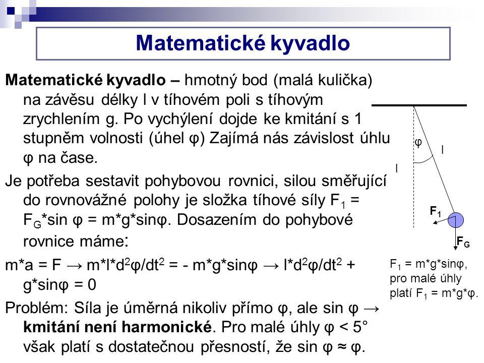 Matematické kyvadlo Matematické kyvadlo – hmotný bod (malá kulička) na závěsu délky l v tíhovém poli s tíhovým zrychlením g. Po vychýlení dojde ke kmi