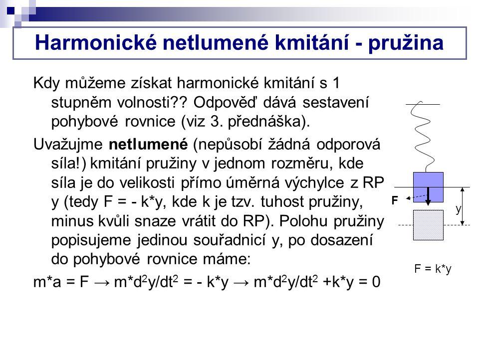 Harmonické netlumené kmitání - pružina Kdy můžeme získat harmonické kmitání s 1 stupněm volnosti?? Odpověď dává sestavení pohybové rovnice (viz 3. pře