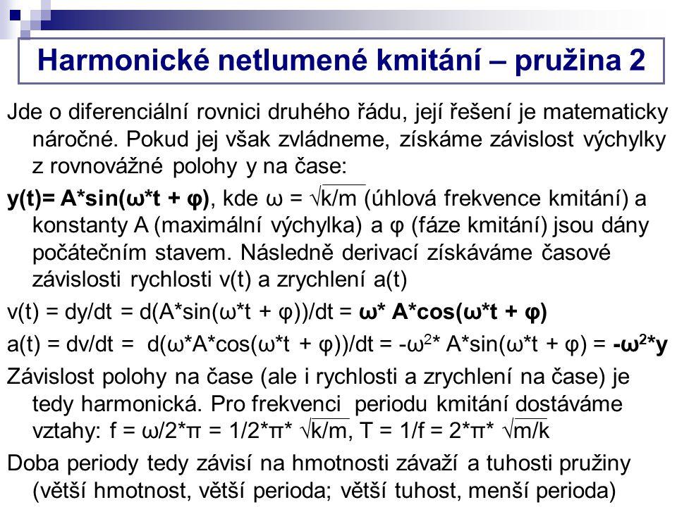 Harmonické netlumené kmitání – pružina 2 Jde o diferenciální rovnici druhého řádu, její řešení je matematicky náročné.