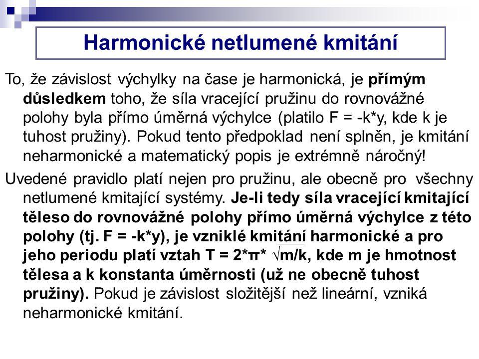 Harmonické netlumené kmitání To, že závislost výchylky na čase je harmonická, je přímým důsledkem toho, že síla vracející pružinu do rovnovážné polohy byla přímo úměrná výchylce (platilo F = -k*y, kde k je tuhost pružiny).