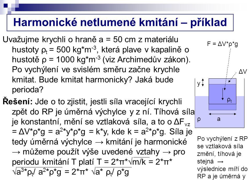 Harmonické netlumené kmitání – příklad Uvažujme krychli o hraně a = 50 cm z materiálu hustoty ρ t = 500 kg*m -3, která plave v kapalině o hustotě ρ = 1000 kg*m -3 (viz Archimedův zákon).