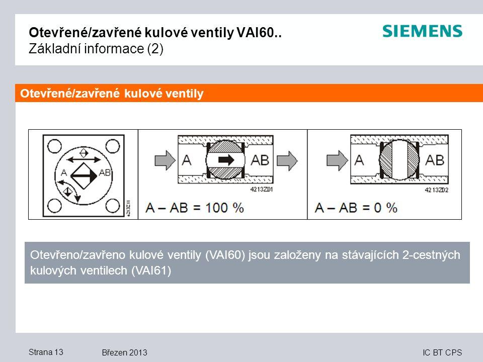 IC BT CPS Březen 2013Strana 13 Otevřené/zavřené kulové ventily VAI60.. Základní informace (2) Otevřeno/zavřeno kulové ventily (VAI60) jsou založeny na