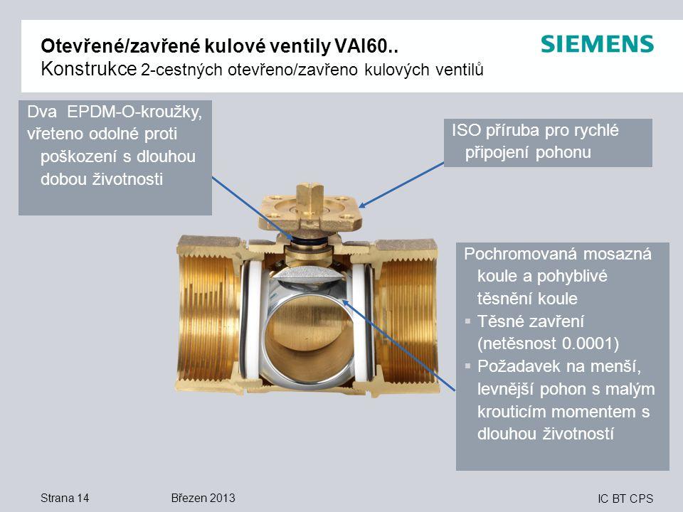 IC BT CPS Strana 14 Otevřené/zavřené kulové ventily VAI60.. Konstrukce 2-cestných otevřeno/zavřeno kulových ventilů Dva EPDM-O-kroužky, vřeteno odolné