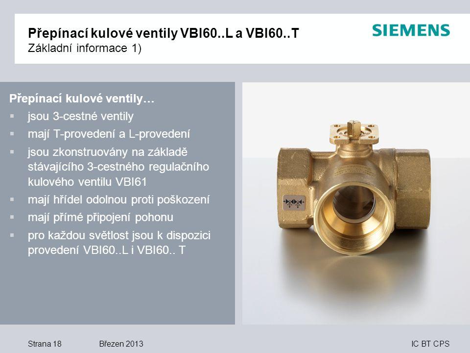 IC BT CPS Přepínací kulové ventily…  jsou 3-cestné ventily  mají T-provedení a L-provedení  jsou zkonstruovány na základě stávajícího 3-cestného re