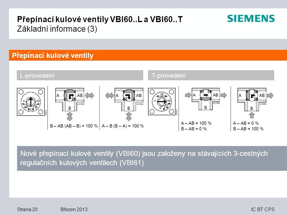 IC BT CPS Březen 2013 Přepínací kulové ventily VBI60..L a VBI60..T Základní informace (3) Strana 20 L-provedeníT-provedení Nové přepínací kulové venti