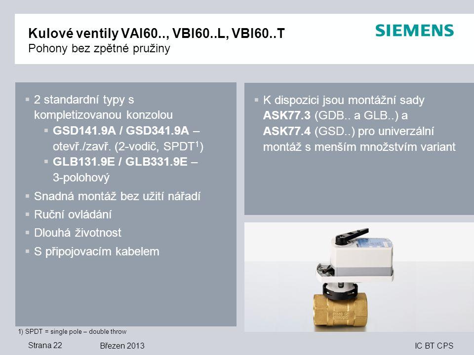 IC BT CPS Březen 2013Strana 22 Kulové ventily VAI60.., VBI60..L, VBI60..T Pohony bez zpětné pružiny 1) SPDT = single pole – double throw  2 standardn