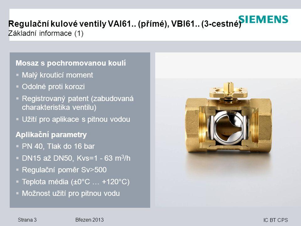 IC BT CPS Strana 3 Regulační kulové ventily VAI61.. (přímé), VBI61.. (3-cestné) Základní informace (1) Mosaz s pochromovanou koulí  Malý krouticí mom