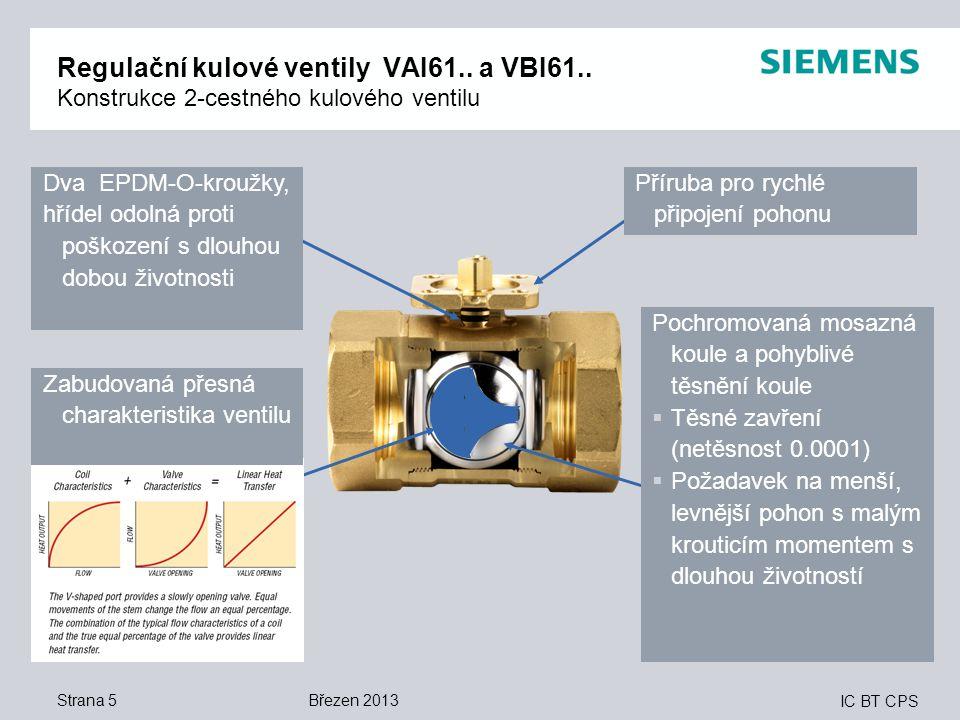 IC BT CPS Strana 5 Regulační kulové ventily VAI61.. a VBI61.. Konstrukce 2-cestného kulového ventilu Dva EPDM-O-kroužky, hřídel odolná proti poškození