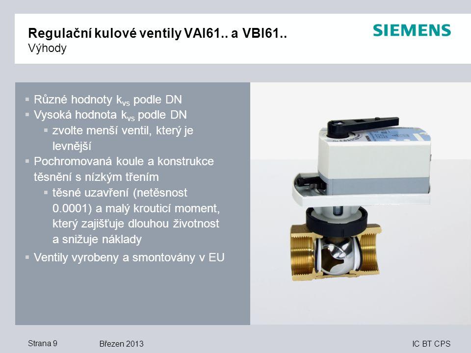 IC BT CPS Březen 2013Strana 9 Regulační kulové ventily VAI61.. a VBI61.. Výhody  Různé hodnoty k vs podle DN  Vysoká hodnota k vs podle DN  zvolte