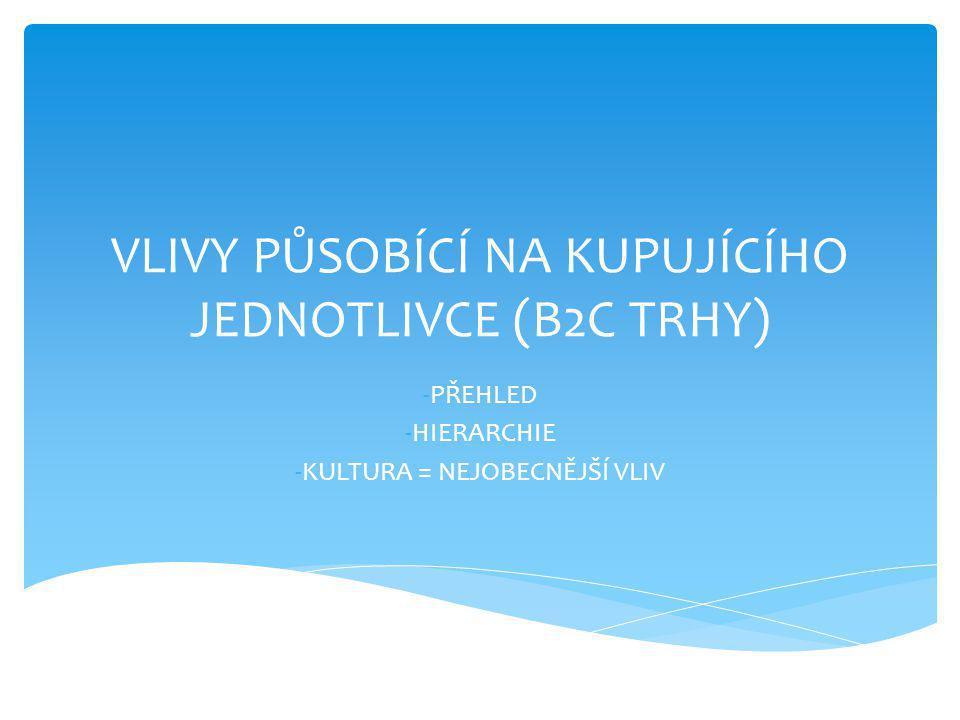 VLIVY PŮSOBÍCÍ NA KUPUJÍCÍHO JEDNOTLIVCE (B2C TRHY) -PŘEHLED -HIERARCHIE -KULTURA = NEJOBECNĚJŠÍ VLIV