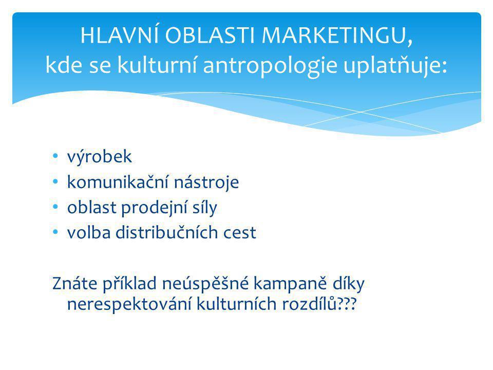 • výrobek • komunikační nástroje • oblast prodejní síly • volba distribučních cest Znáte příklad neúspěšné kampaně díky nerespektování kulturních rozdílů??.