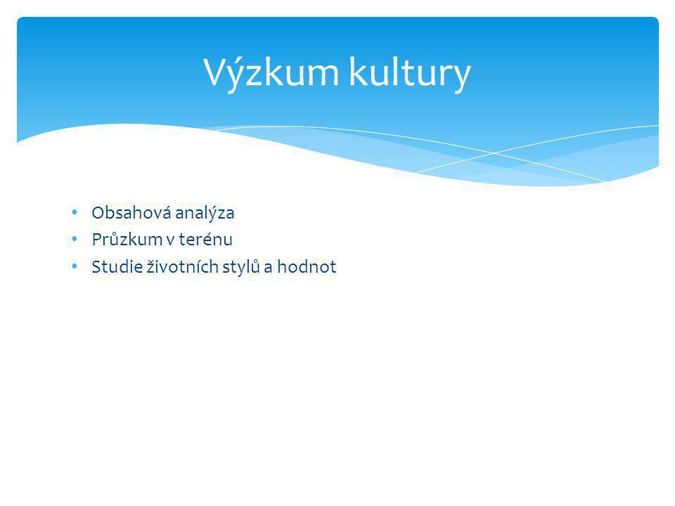 • Obsahová analýza • Průzkum v terénu • Studie životních stylů a hodnot Výzkum kultury