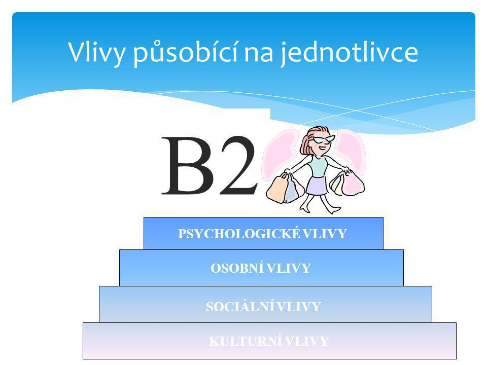 B2 Vlivy působící na jednotlivce OSOBNÍ VLIVY PSYCHOLOGICKÉ VLIVY KULTURNÍ VLIVY SOCIÁLNÍ VLIVY