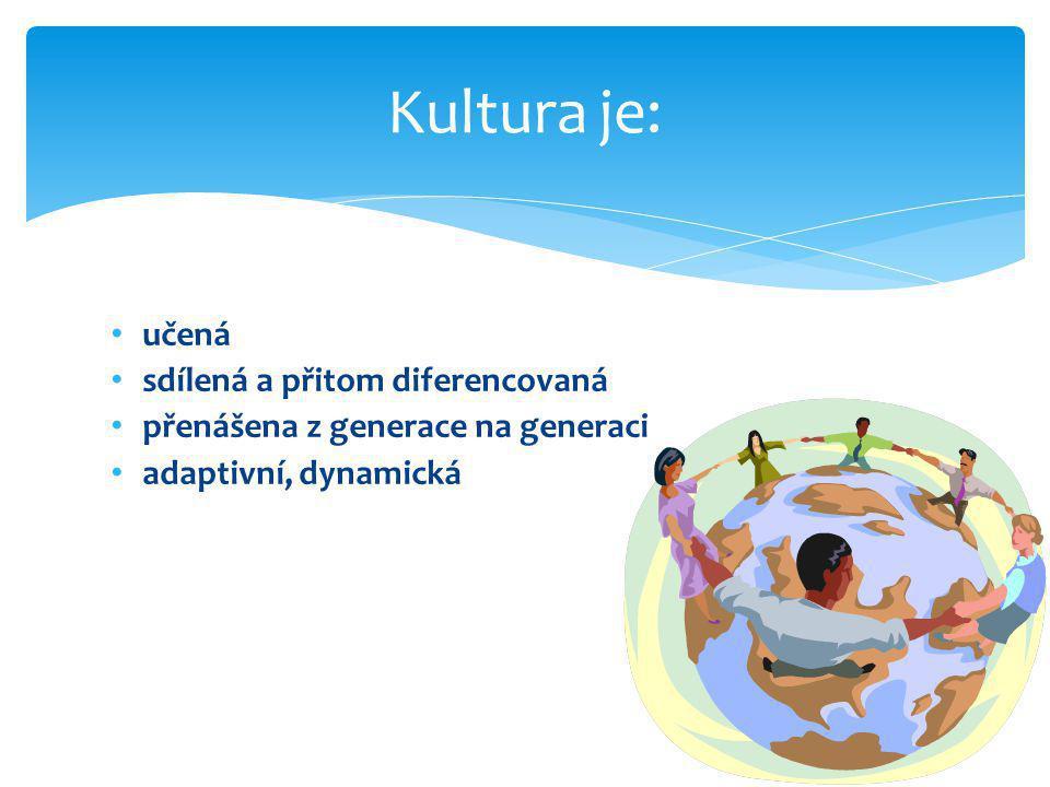• učená • sdílená a přitom diferencovaná • přenášena z generace na generaci • adaptivní, dynamická Kultura je: