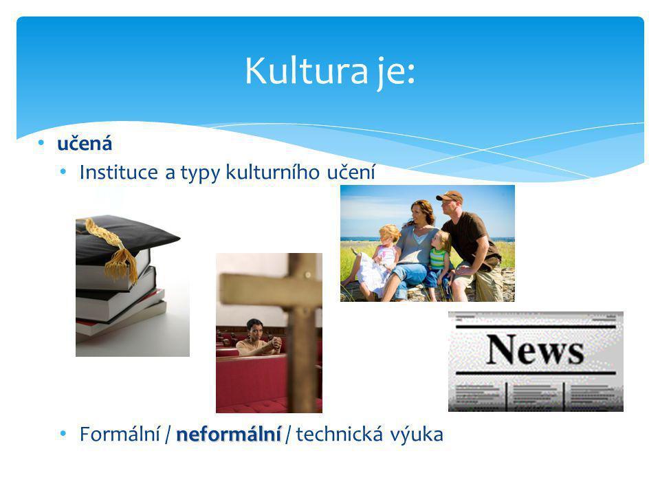 • učená • Instituce a typy kulturního učení neformální • Formální / neformální / technická výuka Kultura je: