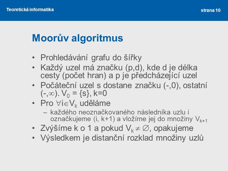 Teoretická informatika Moorův algoritmus •Prohledávání grafu do šířky •Každý uzel má značku (p,d), kde d je délka cesty (počet hran) a p je předcházej