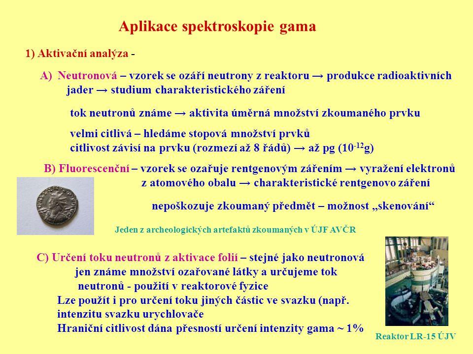 Aplikace spektroskopie gama 1) Aktivační analýza - A)Neutronová – vzorek se ozáří neutrony z reaktoru → produkce radioaktivních jader → studium charak