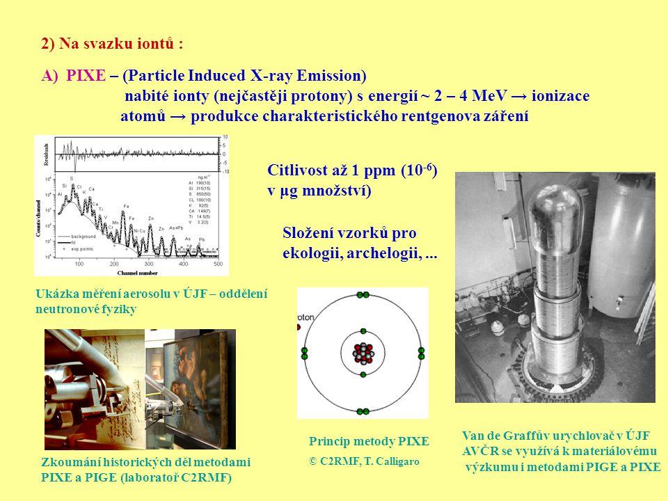 2) Na svazku iontů : A)PIXE – (Particle Induced X-ray Emission) nabité ionty (nejčastěji protony) s energií ~ 2 – 4 MeV → ionizace atomů → produkce ch
