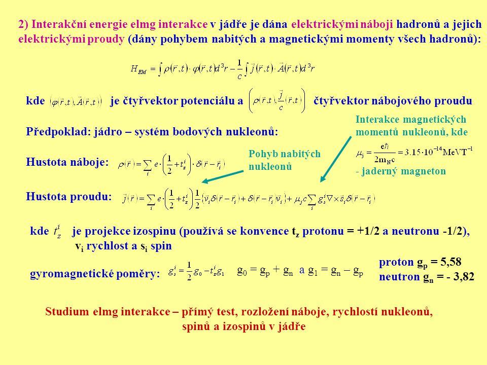 2) Interakční energie elmg interakce v jádře je dána elektrickými náboji hadronů a jejich elektrickými proudy (dány pohybem nabitých a magnetickými mo