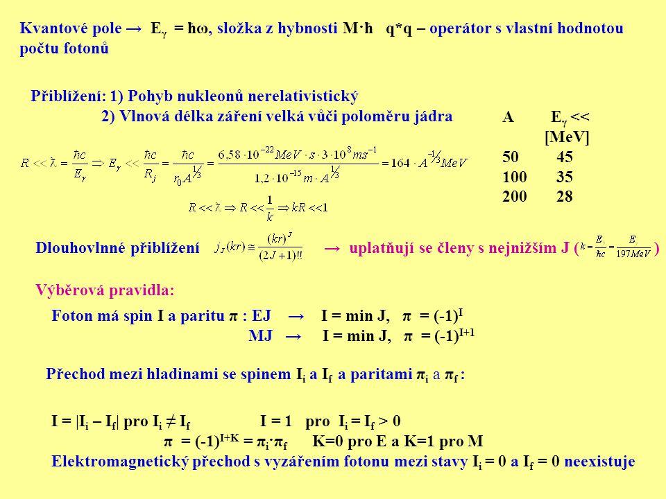 Přiblížení: 1) Pohyb nukleonů nerelativistický 2) Vlnová délka záření velká vůči poloměru jádra A E γ << [MeV] 50 45 100 35 200 28 Výběrová pravidla: