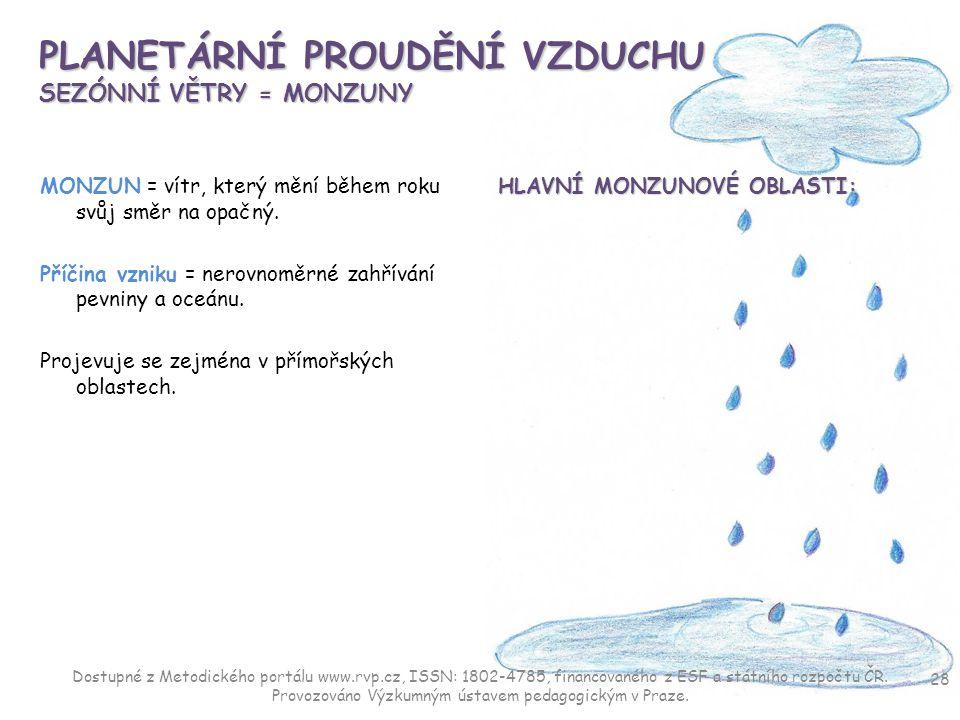 PLANETÁRNÍ PROUDĚNÍ VZDUCHU SEZÓNNÍ VĚTRY = MONZUNY MONZUN = vítr, který mění během roku svůj směr na opačný. Příčina vzniku = nerovnoměrné zahřívání