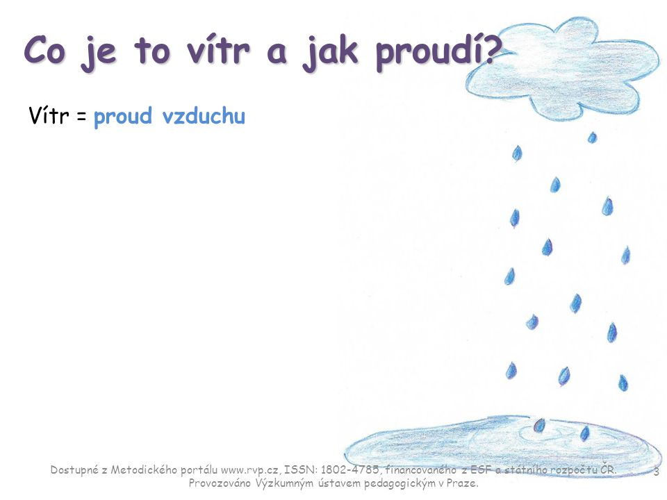 Co je to vítr a jak proudí? Vítr = proud vzduchu 3 Dostupné z Metodického portálu www.rvp.cz, ISSN: 1802-4785, financovaného z ESF a státního rozpočtu